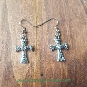 Cross Earrings/Silver Cross Necklace/Cross